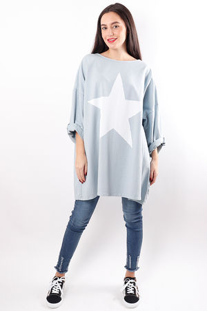 Oversized Paint Star Sweat Grey Blue