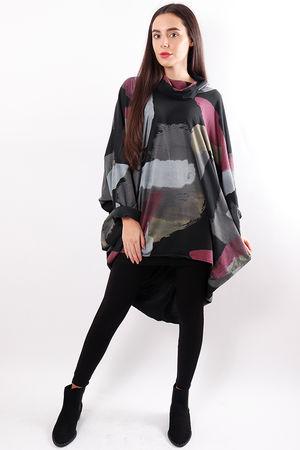 Oversized Paint Stripe Top Black
