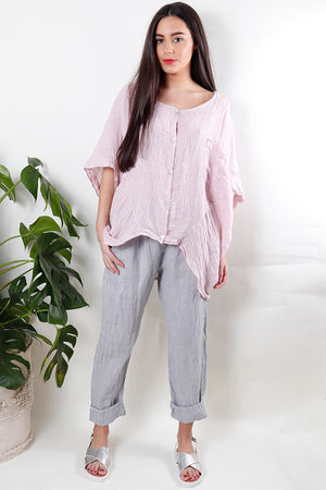 Oversized Pinstripe Linen Top Blush