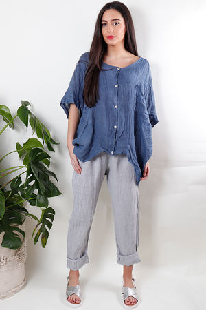 Oversized Pinstripe Linen Top Denim