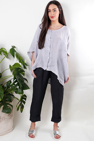 Oversized Pinstripe Linen Top Lilac Grey