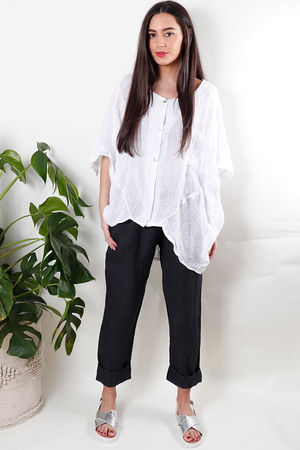 Oversized Pinstripe Linen Top White