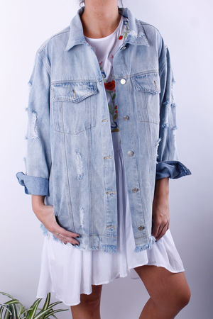 Oversized Raw Edge Denim Jacket