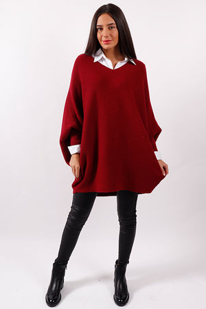 Made In Italy Oversized Ribby Burgundy