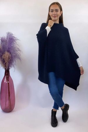 Oversized Ribby Funnel Knit Navy