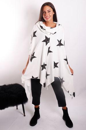 Oversized Scatter Star 4 Point Cuddie White