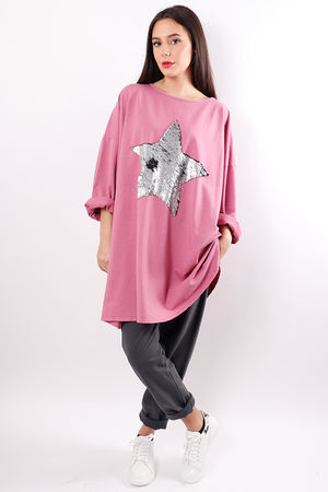 Oversized Sequin Star Sweat Pink