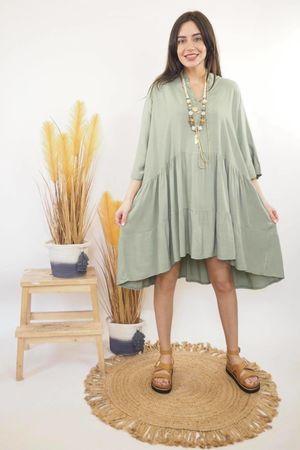 Oversized Smock Dress Khaki