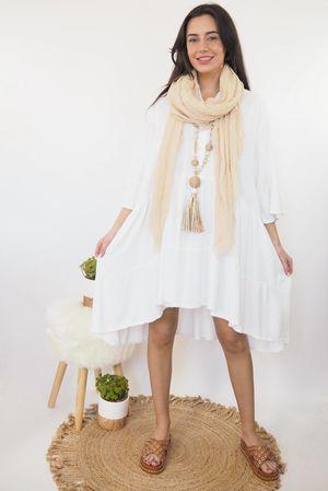 Oversized Smock Dress White