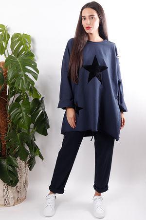 Oversized Star Shoulder Sweat Navy