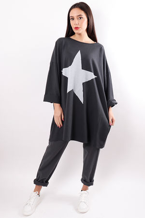 Oversized Star Sweat Slate