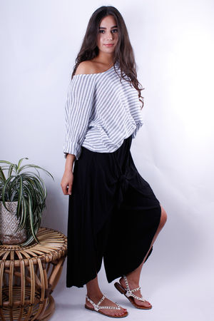 Oversized Stripe Box Tee Grey