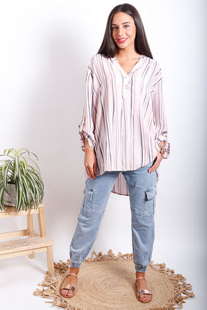 Oversized Stripe Shirt Blush