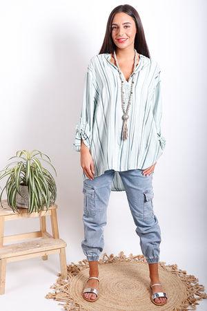 Oversized Stripe Shirt Mint