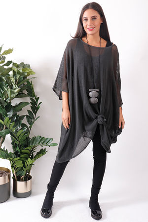 Oversized T Bag Top Slate