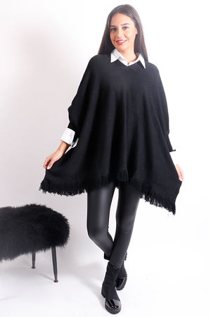 Oversized Tassel Poncho Knit Black
