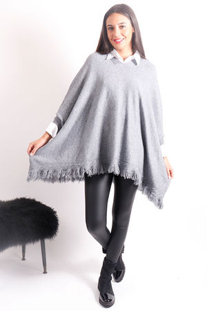 Oversized Tassel Poncho Knit Grey Marl