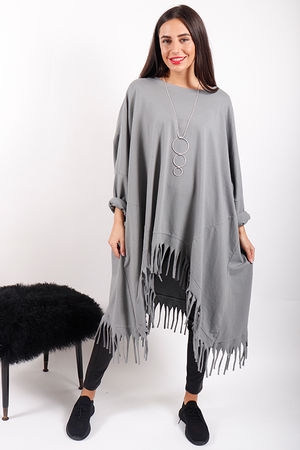 80s Child Oversized Tassel Sweat Grey