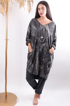 Oversized Whatever Feather Tunic Slate