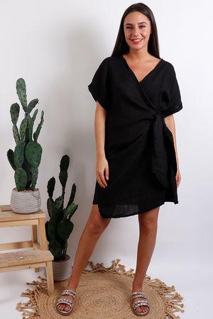 Oversized Wrap Tunic Dress Black