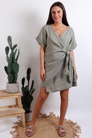 Oversized Wrap Tunic Dress Khaki