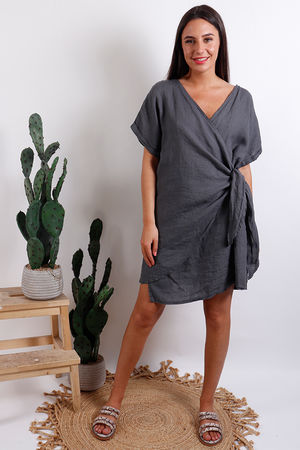 Oversized Wrap Tunic Dress Slate