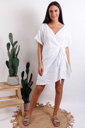 Oversized Wrap Tunic Dress White