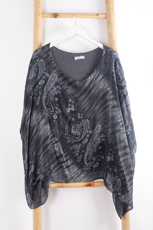 Paisley Cheesecloth Top Graphite