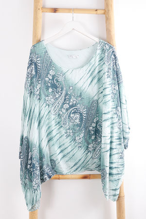 Paisley Cheesecloth Top Mint