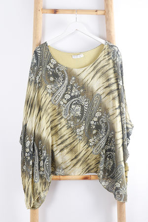 Paisley Cheesecloth Top Yellow