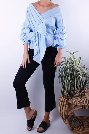 Pale Blue Cross Over Wrap Blouse