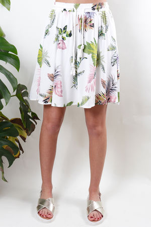 Palm Print Pull Tie Skirt