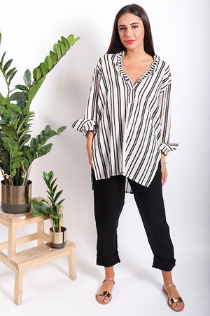 PALME Embellished Mono Stripe Shirt