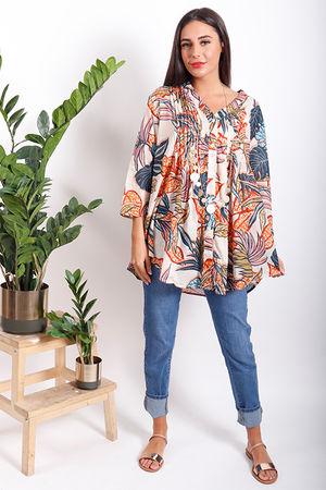 PALME Tropic Print Peasant Shirt Ecru