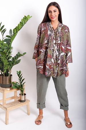 PALME Tropic Print Peasant Shirt Khaki