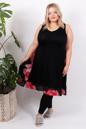 Panelled Flower Dress Cherry