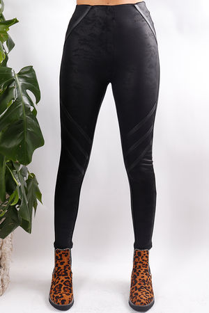Panelled Nubuck Pants Black