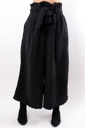 Paperbag Cord Culottes Black
