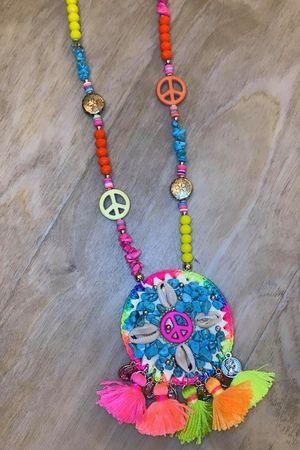 Peace Tassel Necklace Multi