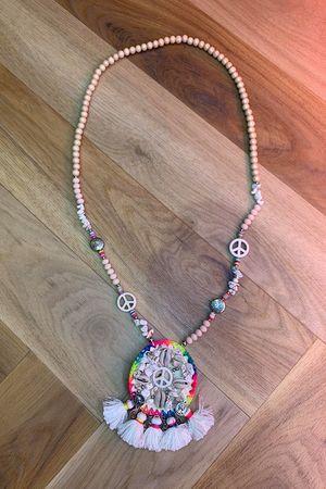 Peace Tassel Necklace Nude