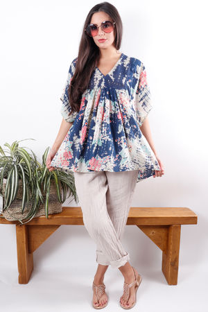 Peasant Tie Dye Floral Blouse