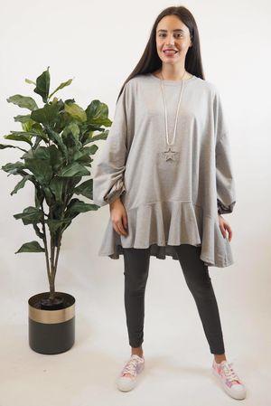 Peplum Sweatshirt Grey Marl