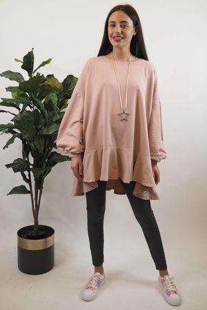 Peplum Sweatshirt Pale Rose