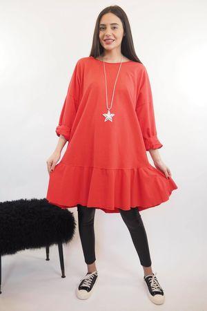 Peplum Tunic Dress Cherry