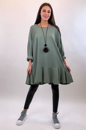Peplum Tunic Dress Khaki