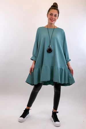 Peplum Tunic Dress Sage