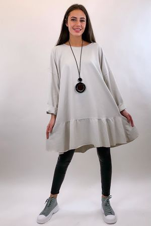 Peplum Tunic Dress Stone