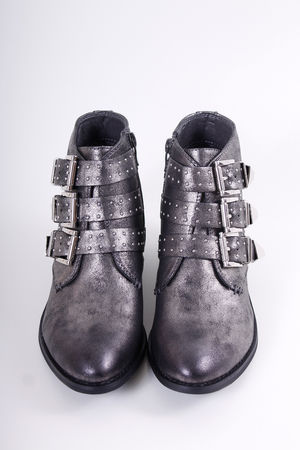 Pewter Stud Ankle Boots