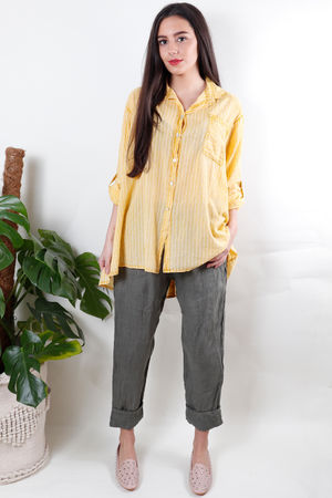 Pin Stripe Button Back Shirt Sunshine