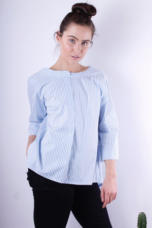 Pin Stripe Tie Back Blouse